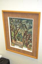 Oil On Canvas Impressionist Scene Of Forest Path Signed Tikur