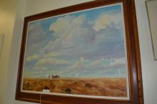 Large Oil-On-Canvas Covered Wagon Crossing The Plains Signed James Rome