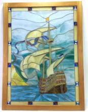 20th C. Ship at Sea Stain Glass