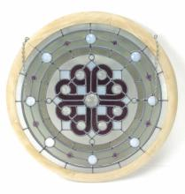 20th C. Round Crystal Medallion Stain Glass