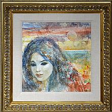 N. Wasserberger Oil Painting, Asian Female