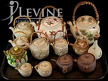 (13) Pieces Asian Teapot & Vase Lot w/ Banko