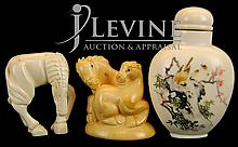 Japanese Ivory Netsuke & Snuff Bottle Lot