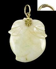 Vintage Jade Pendant, 14K Gold Bail