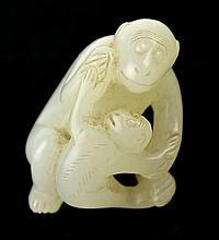 Vintage White Jade Monkey Pendant