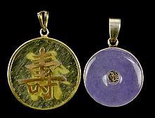 2 Vintage Jade Pendants, (1) Sterling Bezel