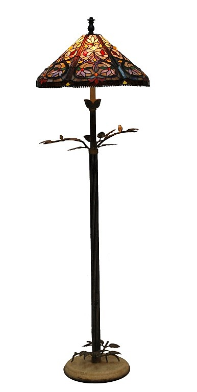 Tiffany Style Stained Glass Tree Branch Floor Lamp