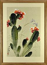 Asian Painting of Blooming Cactus