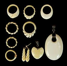 Vintage Chinese Carved Ivory Jewelry Lot