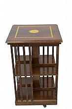 Mahogany Inlaid Rotating Bookcase