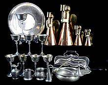 21 Pc Metal Ware: Silver Plate Pewter Copper Angels