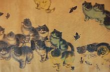 Antique Chinese Silk Kitten Scroll