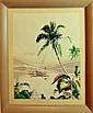 Hawaiian Gouache, Mid-Century Watercolor Painting