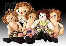 5 Pc. Raggedy Andy & Ann Doll Lot