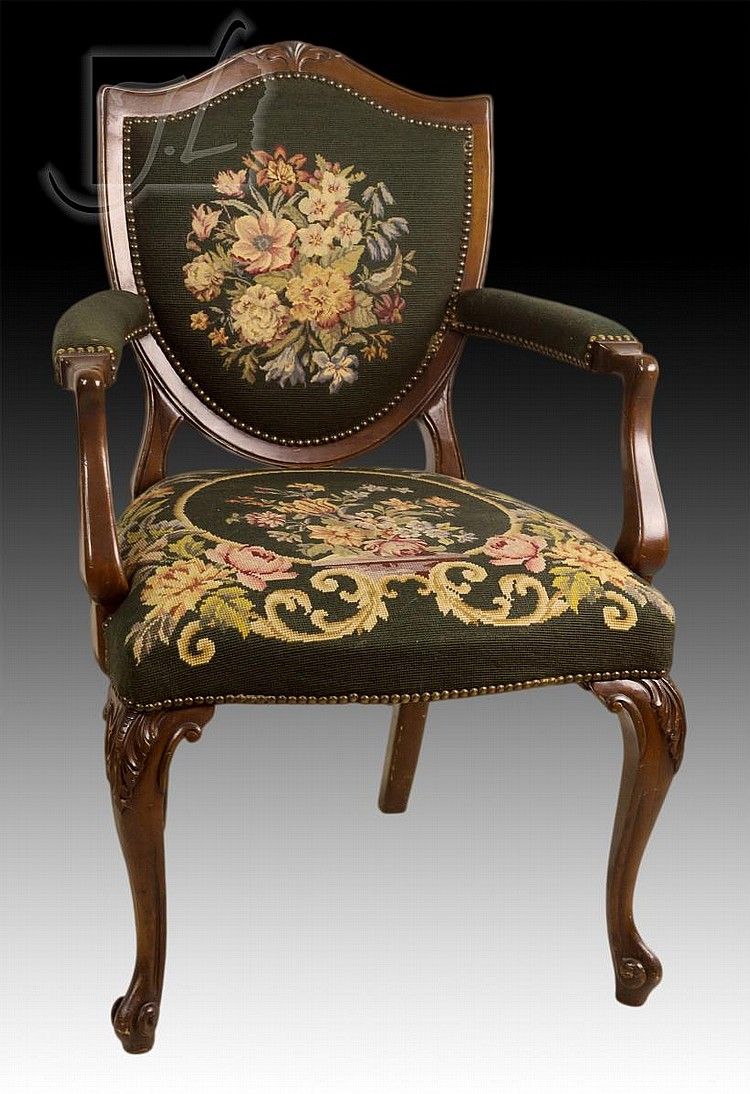 Victorian style needlepoint upholstered arm chair