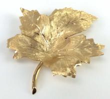 14K Yellow Gold Leaf Brooch