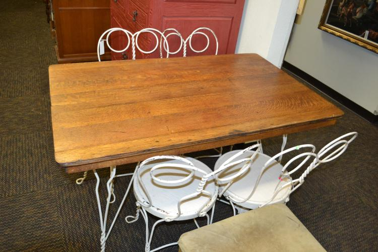 Shabby Chic Vintage Twisted Metal Wood Topped Dining Table -> Table Basse Vintage Metal Twist