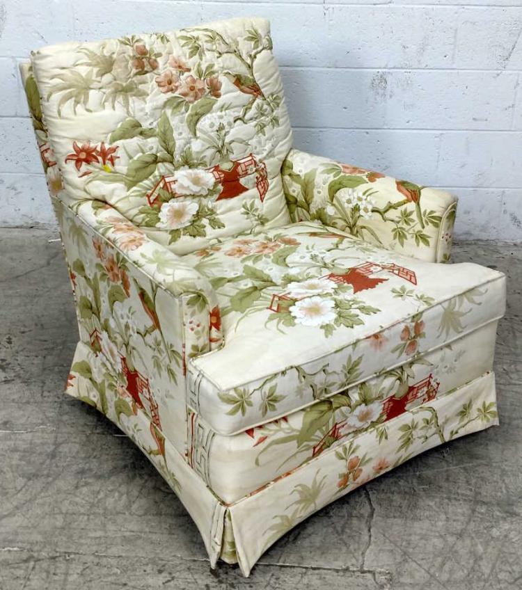 Drexel Arm Chair Asian Floral Motif