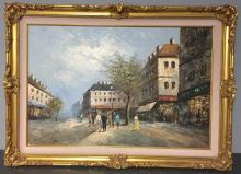 Signed Burnett Street Scene Oil on Canvas