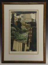 """H. Altman """"Market with Vegetables"""" Etching"""