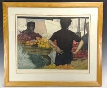 "H. Altman ""Market with Oranges"" Etching"