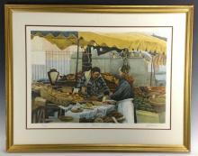 """H. Altman """"Two Market Women, 1983"""" Lithograph"""