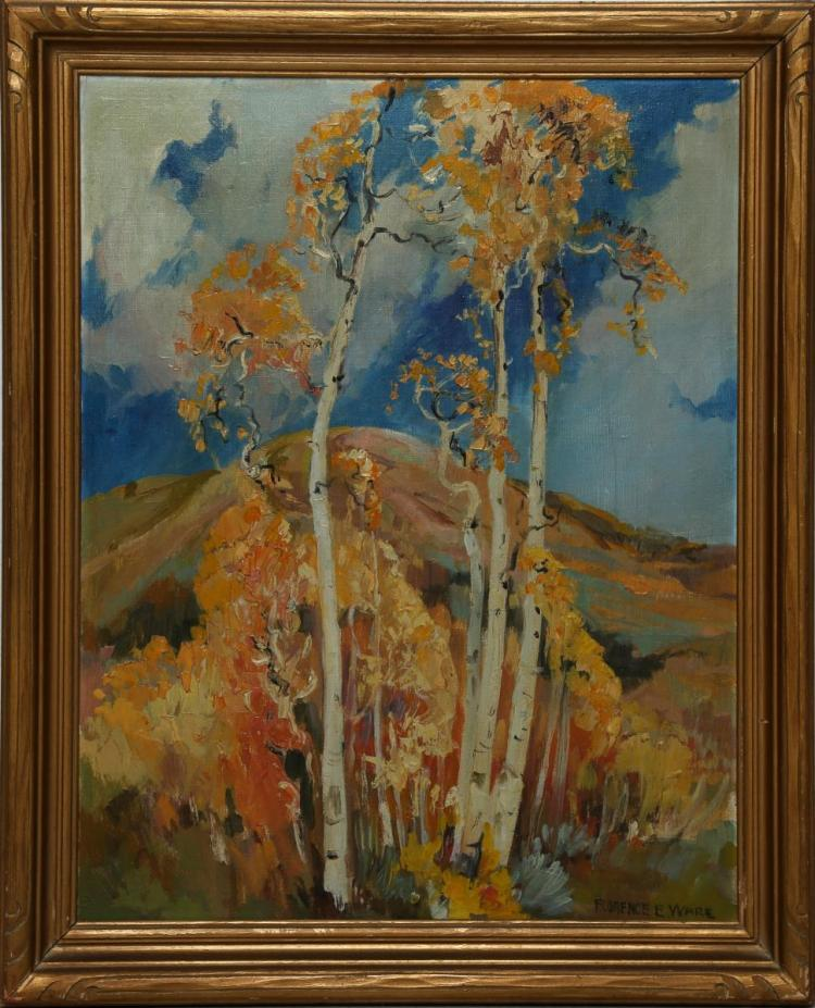 Florence E. Ware Untitled Birch Trees Oil on Board