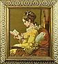 Vintage Framed Needlework, A Woman Reading