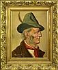 German Oil Painting, Gentleman's Portrait, Feather