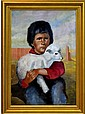 Oil Painting, Child w/ Lamb, Signed Patricia Smith