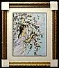 Framed Needlework: Woman and Bird