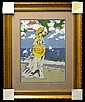 Framed Needlework: Beach Scene, Yellow Hat