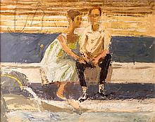 Jozsef Breznay (1916-2012) Couple In The Square