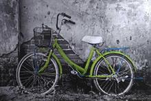 Green Bicycle on Black & Print on canvas