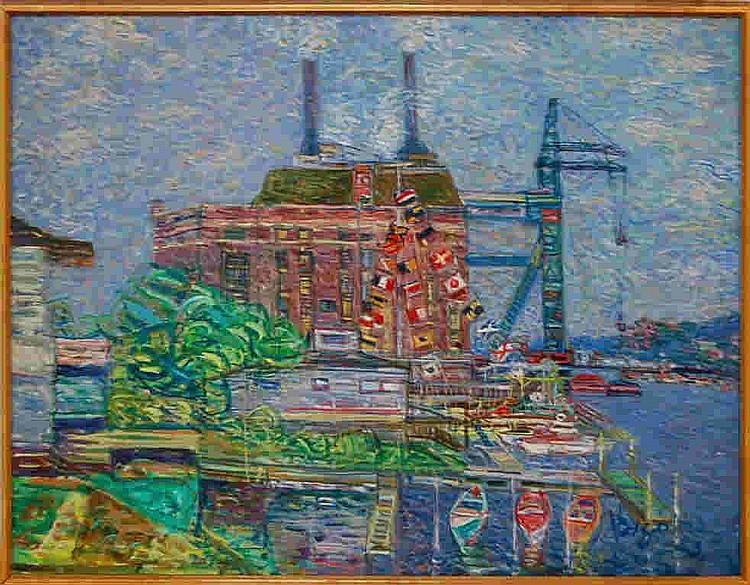 Wladyslaw Brzosko (1912-2011) Harlem River, Con Ed
