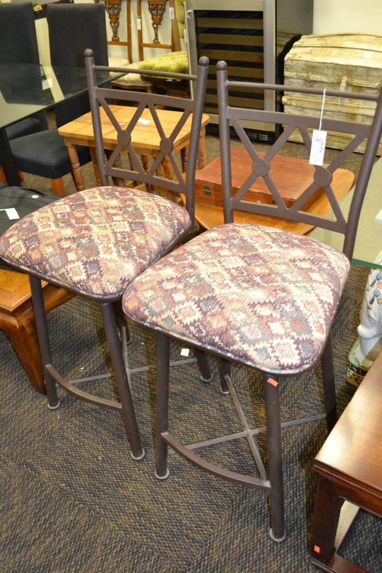 Metal southwestern upholstered bar stools