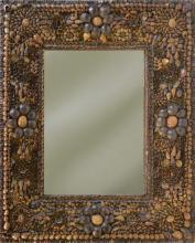 c 1920s Tramp Art Shell Decorated Mirror