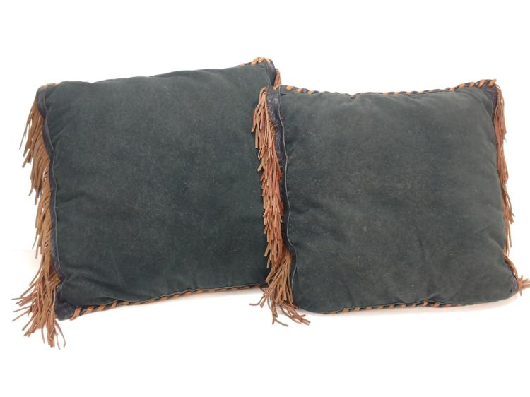 2Pc. Southwestern Leather Throw Pillows