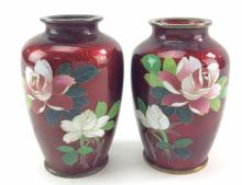 20th C. Japanese Pigeon Blood Enameled Vases