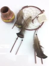2Pc.  Native American Dream Catcher & Pottery Pot