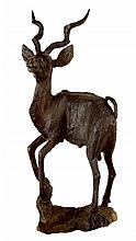 African Carved Wood Kudu Sculpture