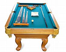 DLT Billiards Pool Table Set: Cues, Bridge, Balls