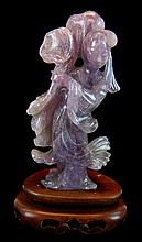 Asian Carved Amethyst Female Figurine w/ Stand