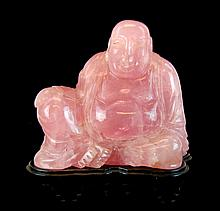 Asian Carved Pink Quartz Hotei Buddha Figurine