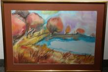 Signed Untitled, Fall scene Paint on fabric