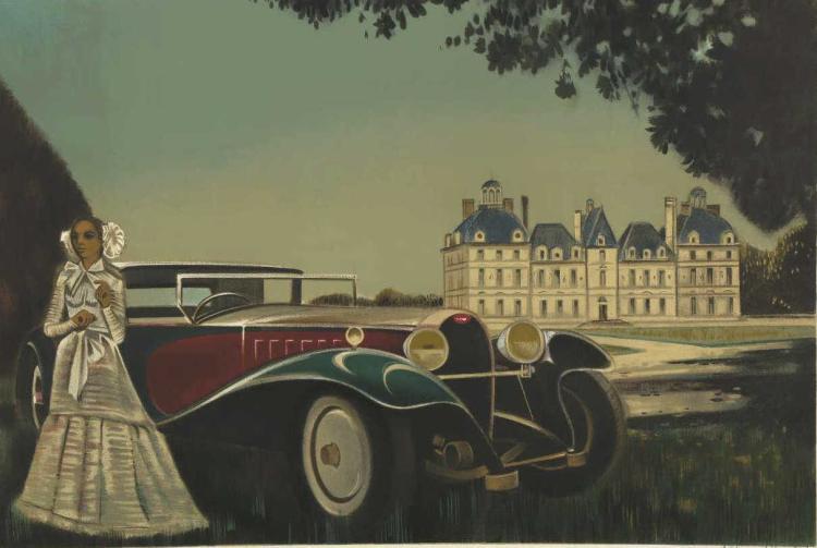 Robert Bonfait Woman Vintage Car Signed Print