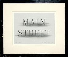 Edward Ruscha (né 1937) Main Street AP Lithograph