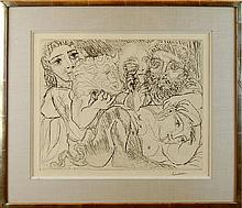 Pablo Picasso (1881-1973) Etching Minotaure, Buveur et Femmes