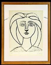 Pablo Picasso (1881-1973) Jeune Fille aux Grands Cheveux Ltd. Ed. Lithograph