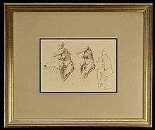 Framed Drawing, Nude Study Sitting, Signed